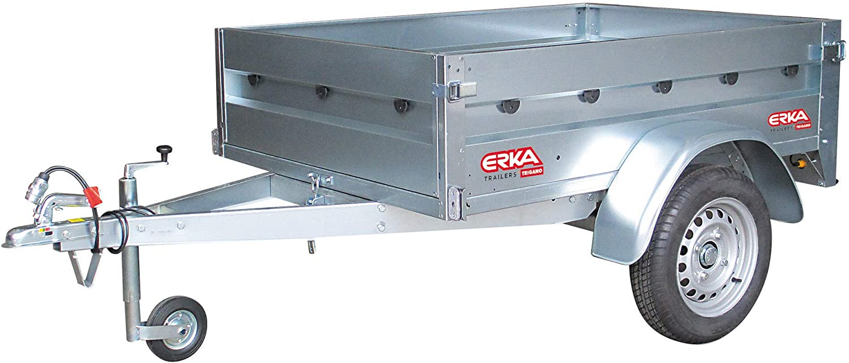 ERKA Remolque de Coche galvanizado de 1,70x1,24m con Tablero fenólico. Carga útil 356kg. MMA 500kg