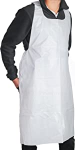 MT Products Disposable White Heavy Weight Plastic/Poly Apron 46 inches x 28 inches - 2 Mil - Perfect for Cooking and Arts n' Crafts (100 Pieces)