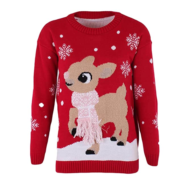 6cecca827202 MALAIKA Ladies Women s Bambi Deer Christmas Jumper 3D Tassel Scarf ...