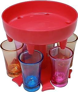 6 Shot Glass Dispenser and Holder,Iced Beverage Drinking Wine Dispenser,Dispenser for Filling Liquids,Bar Shot Dispenser, Cocktail Dispenser,Dispenser With Slogan (Rose Red & 6 colorful cups)