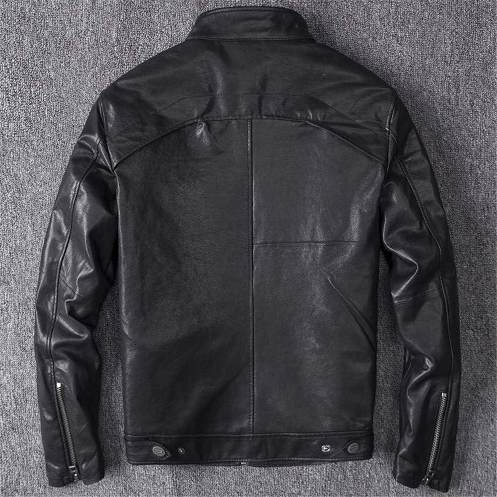 Capispalla da Moto Classico da Uomo in Vera Pelle Colletto in Piedi Bomber Slim Fit Soprabito Antivento Black 6j6ch