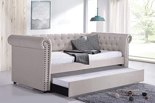 Linen Fabric Upholstered Daybed with Trundle, Classic Style Sofa Bed, Twin  Size Frame, Beige