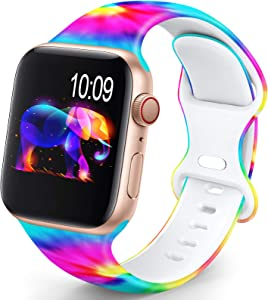 OHOTLOVE Compatible with Apple Watch 38mm 40mm 42mm 44mm for Women Men, Soft Silicone Pattern Printed Replacement Wristband Band For Iwatch Series 6 & Series 5 4 3 2 1.Dazzling Colorful A