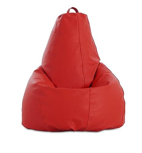 textil-home Pera-XL-Rojo Puf - Pera Moldeable XL, Tejido Polipiel, Doble Repunte, Rojo, 80 x 80 x 130 cm