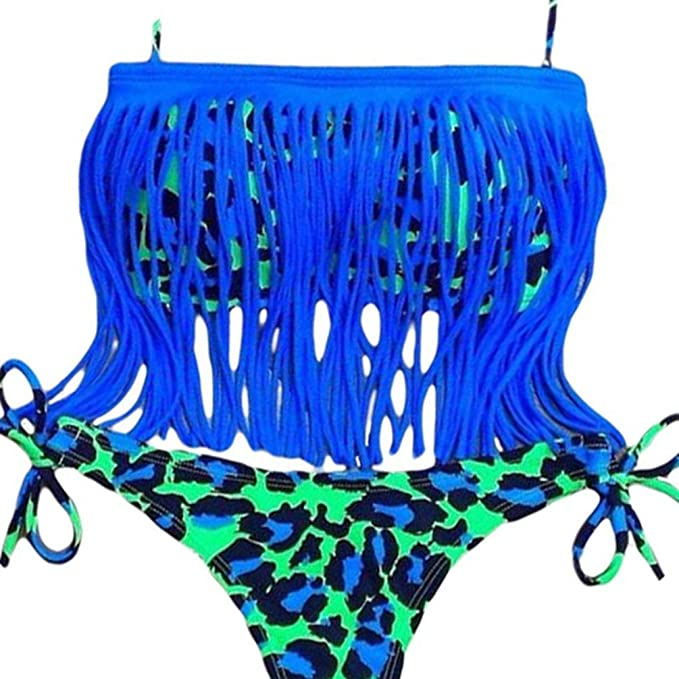 13daa189b0d94 Marck Sch Lovely Womens Blue Tassel Accent 2pcs Brazilian Bikini Swimsuit  Size 2XL