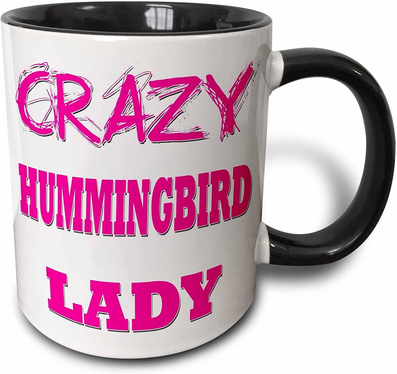 3dRose Crazy Hummingbird Lady Two Tone Mug, 11 oz, Black