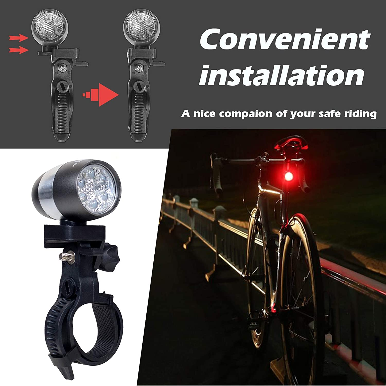 Easy to Mount Headlight and Taillight with Quick Release System KSWIN Aluminum Bicycle Light Set LED Front and Rear Cycle Lighting AAA Battery Powered Fits All Bikes for City Riding Safety