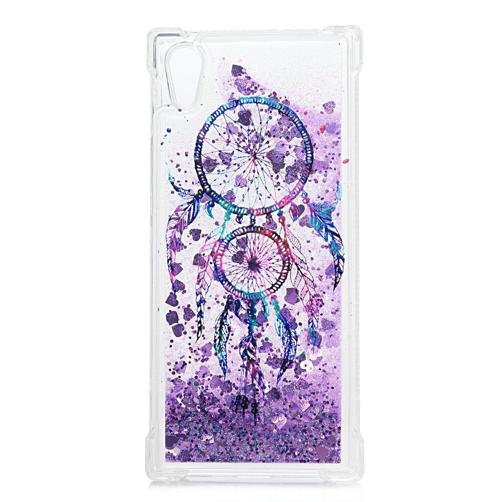 Tophung Carcasa de TPU para Sony Xperia XA1, diseño flotante con purpurina líquida brillante, color transparente, Bulldog
