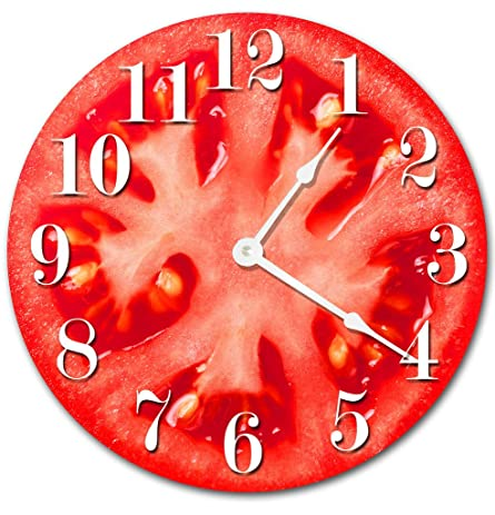 TOMATO VEGETABLE KITCHEN CLOCK Decorative Round Wall Clock Home Decor Wall  Clock Large 10.5u0026quot; Novelty