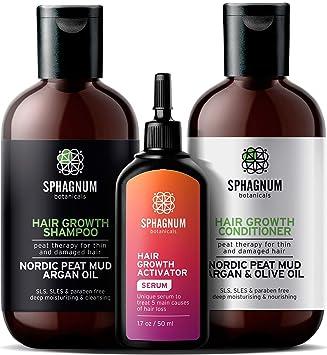 Amazon Com Full Hair Growth Treatment Set Serum Shampoo And Conditioner Beauty