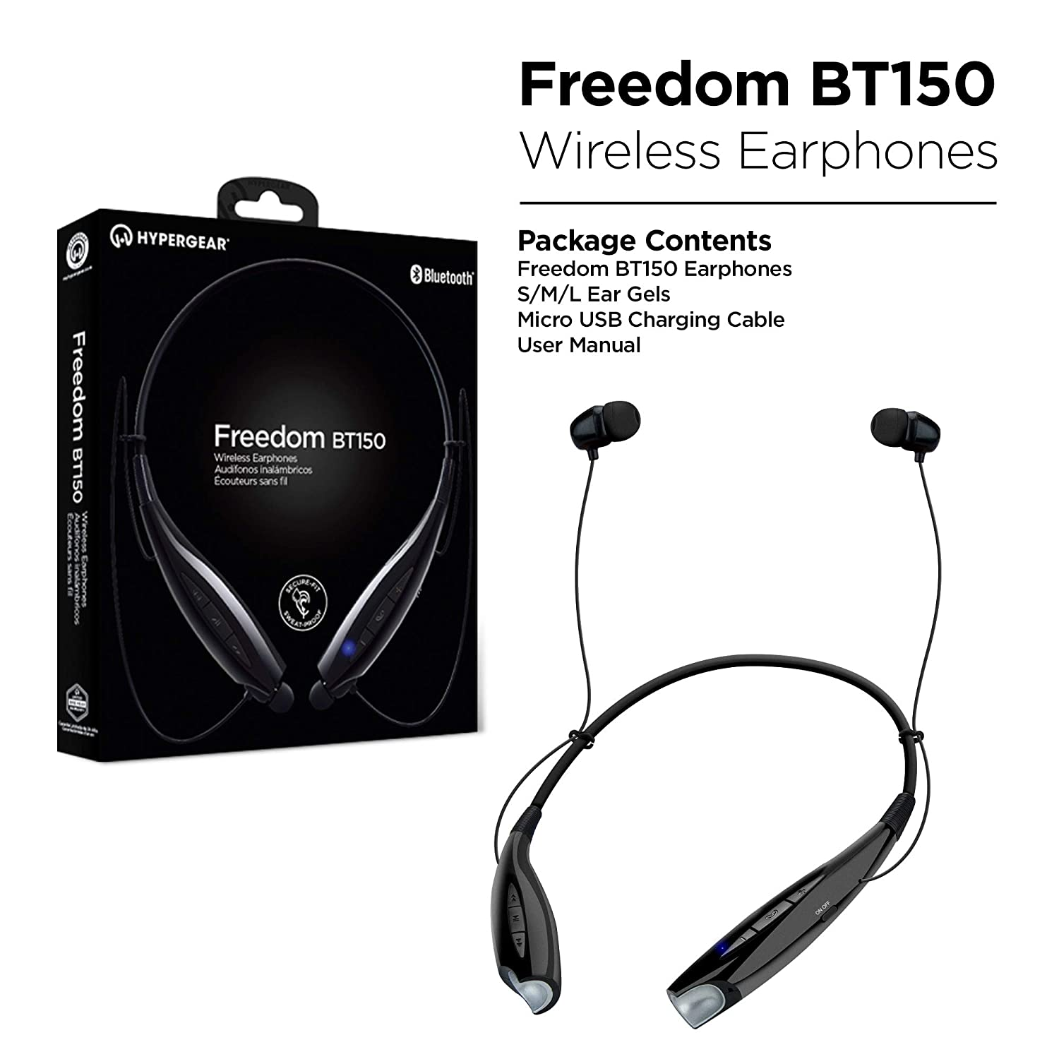 Amazon.com: HyperGear Freedom BT150 Wireless Around The Neck Earphones, Noise Cancelling Microphone, Hands-Free Music & Call Vibration from Any ...