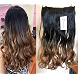 """DevaLook Hair Extensions 20"""" 25"""" Thick One Piece Straight Wavy Curly Half Head Ombre Clip in Hair Extensions (20"""" - Natural b"""