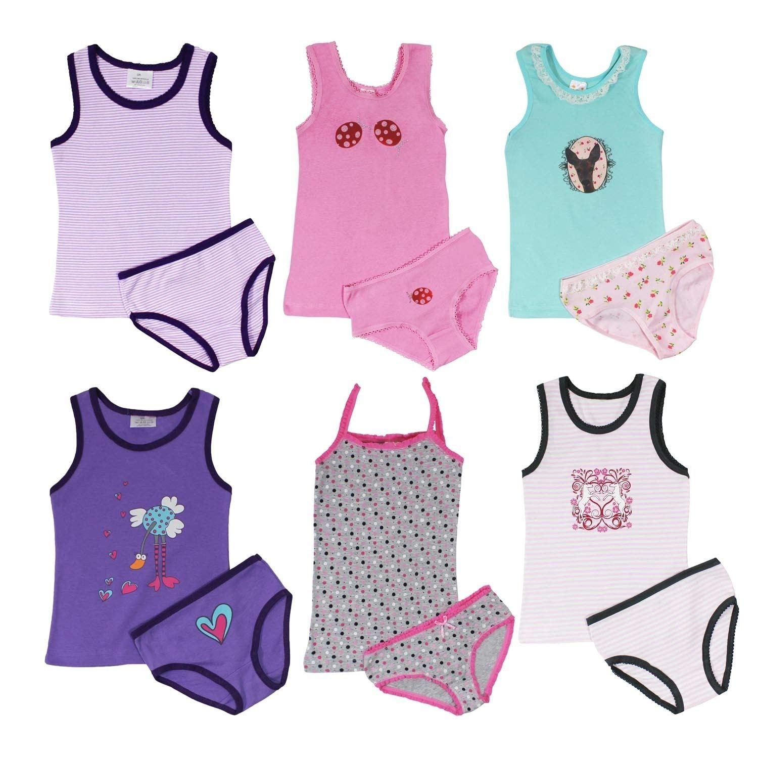 Anntry 2-8 Years Little Girls Solid Colors Soft Camisole Undershirts 4 Pack Kids Comfort Breathable Tank Tops