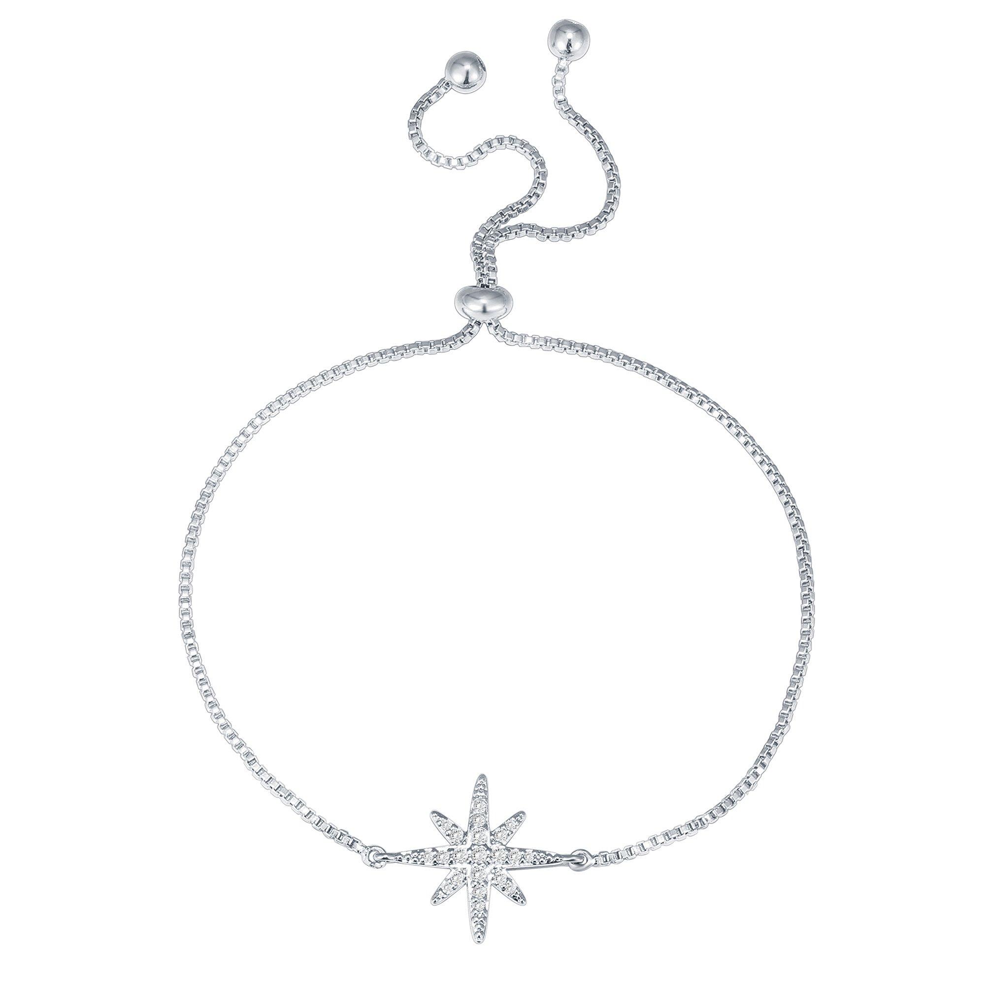 PAVOI 14K White Gold Plated Star Celestial Adjustable Bracelet