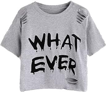 SheIn Women's Casual Letter Print Ripped Short Sleeve Crop Tee Top T-Shirt