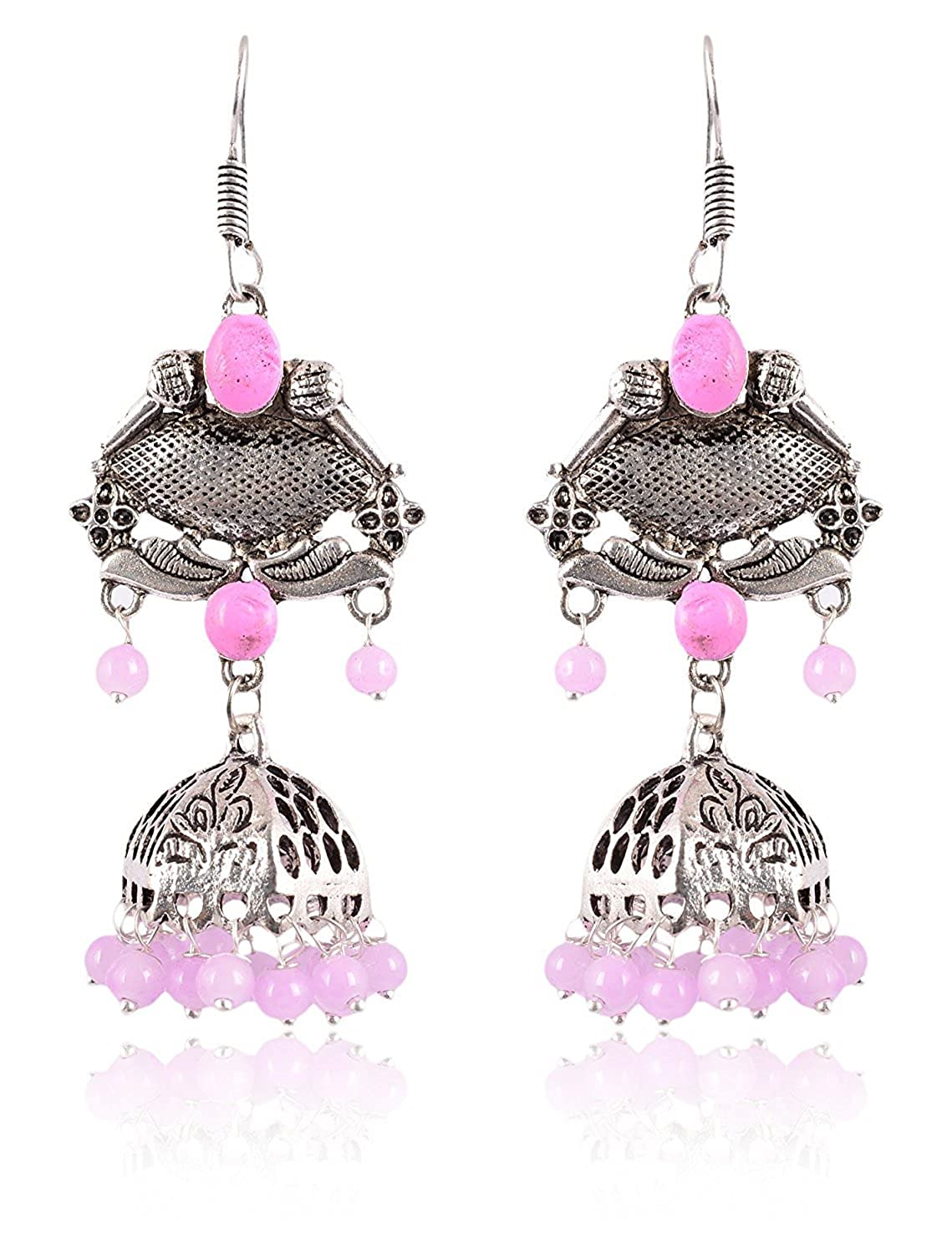 Subharpit Baby Pink Color Pearl Silver Color Metal Non Precious Indian Ethnic Tratitional Tops Jhumki