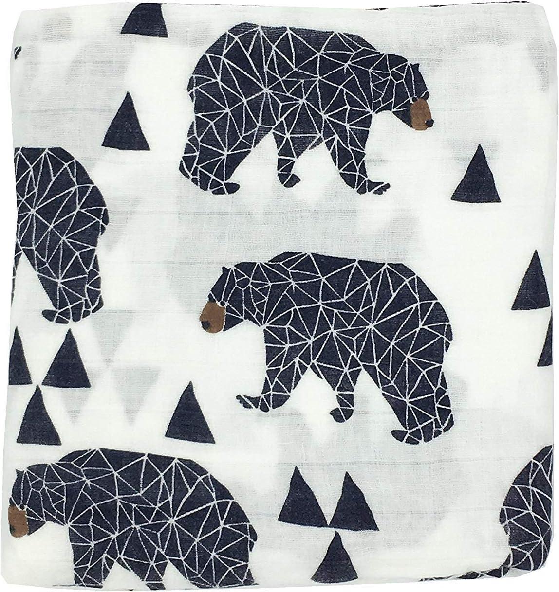 "HGHG Cute Bamboo Cotton Muslin Swaddle Blankets Premium Receiving Blanket for Boys & Girls 47"" x 47"" Baby Bear Blanket"