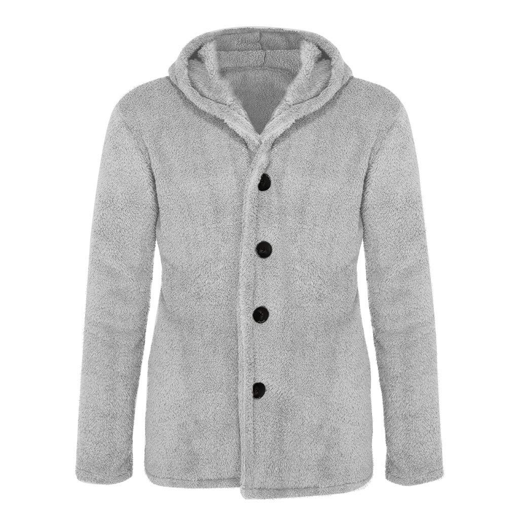 Tomcia Men's Fleece Coat Hoodie Winter Warm Solid Color Button Long Sleeve Regular Fit Warm Fashion Cardigan (XXXL, Gray) by gsb-FFuxk