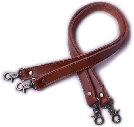 Wento Pair 24 Genuine Leather Dark Brown Purses Straps,Lobster Hook inner size 0.3,Real Leather Sewing Canvas backing Bag Handles,replacement Purse Straps,Bag Wallet Straps WT0301 Dark Brown