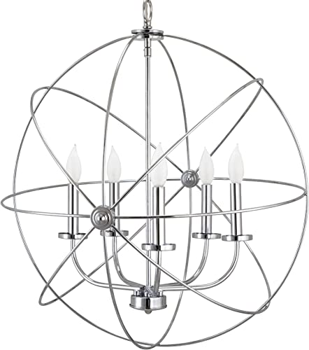 Kira Home Orbits II Large 24 5-Light Modern Sphere Orb Chandelier, Chrome Finish