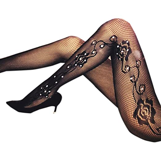 48c05715f Women s Fishnet Stockings with Rhinestones Floral Pattern High Waist  Stretchy Hollow Out Stockings Pantyhose Mesh Hosiery