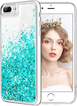 wlooo Funda para iPhone 8 Plus, Fundas iPhone 7 Plus, Glitter liquida Gradiente Silicona TPU Bumper Case Brillante Arena movediza Carcasa para iPhone 6 Plus/6s Plus/7 Plus/8 Plus (Teal): Amazon.es: Electrónica
