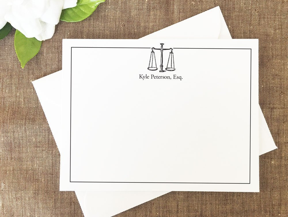 Lawyer Personalized Stationary Set, Law Scales Stationery, Gift for Lawyer