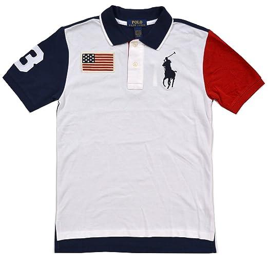 1c28e31a2f87 Amazon.com  Polo Ralph Lauren Boys Big Pony USA Flag Polo (M