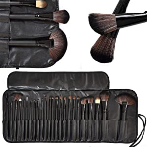 MACPLUS Professional makeup Brush Set (24 Pieces) with Leather Pouch