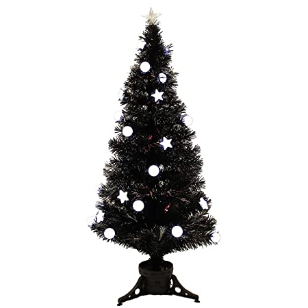 Werchristmas 120 Cm Black Pre Lit Multi Colour Fibre Optic Christmas