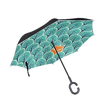 ALAZA Doble Capa Paraguas invertido Coches inversa Paraguas Fox En Prueba Bosque del árbol de la