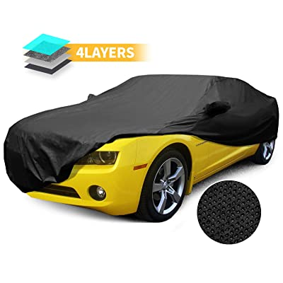 Car Cover Chevy Camaro Coupe 2010-2014 Custom Fit 4 Layer Waterproof with 2 Mirror Pocket Black: Automotive