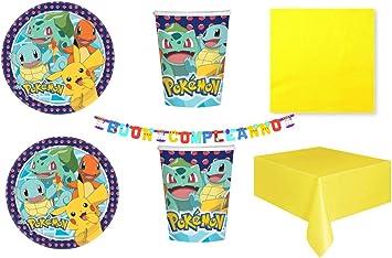 Party Store web by casa dolce casa Pokemon Pikachu - Juego de Mesa de Pokémon - Kit n.° 1 CDC (8 Platos, 8 Vasos, 50 servilletas Amarillas, 1 Mantel Monocolor, 1 Guirnalda): Amazon.es: Juguetes y juegos