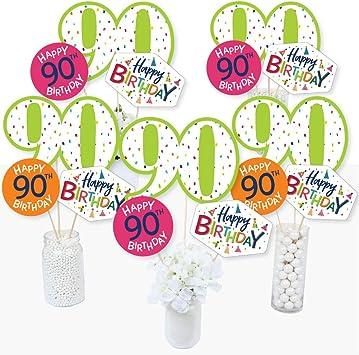 Juego de 15 palos de centro de mesa para fiesta de 90 cumpleaños con texto en inglés «Cheerful Happy Birthday»: Amazon.es: Juguetes y juegos