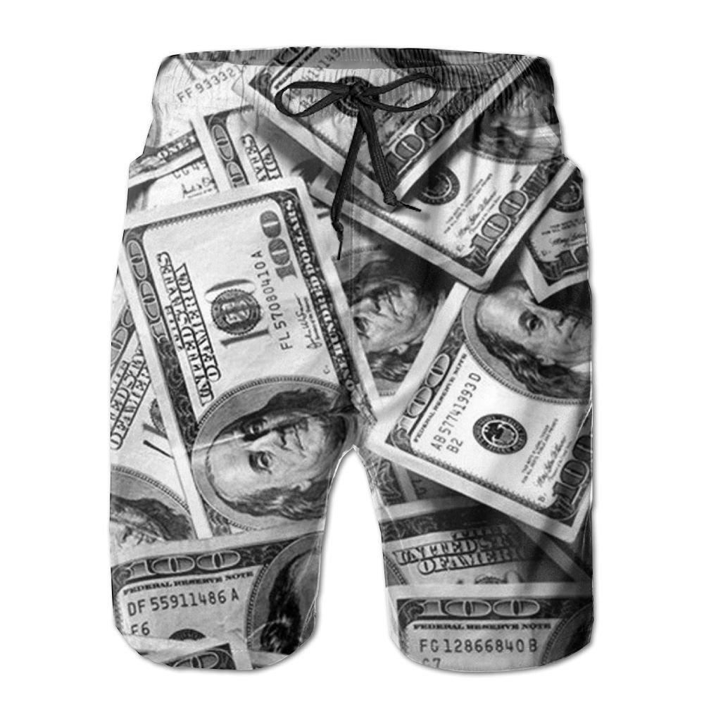 QYKKJF Mens Banknotes Summer Holiday Quick-Drying Swim Trunks Beach Shorts Board Shorts