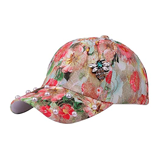 efc6f1414fb Image Unavailable. Image not available for. Color  CHUANGLI Sweet Flower  Baseball Cap Luxurious Peal Crystal Snapbacks Adjustable Baseball Caps