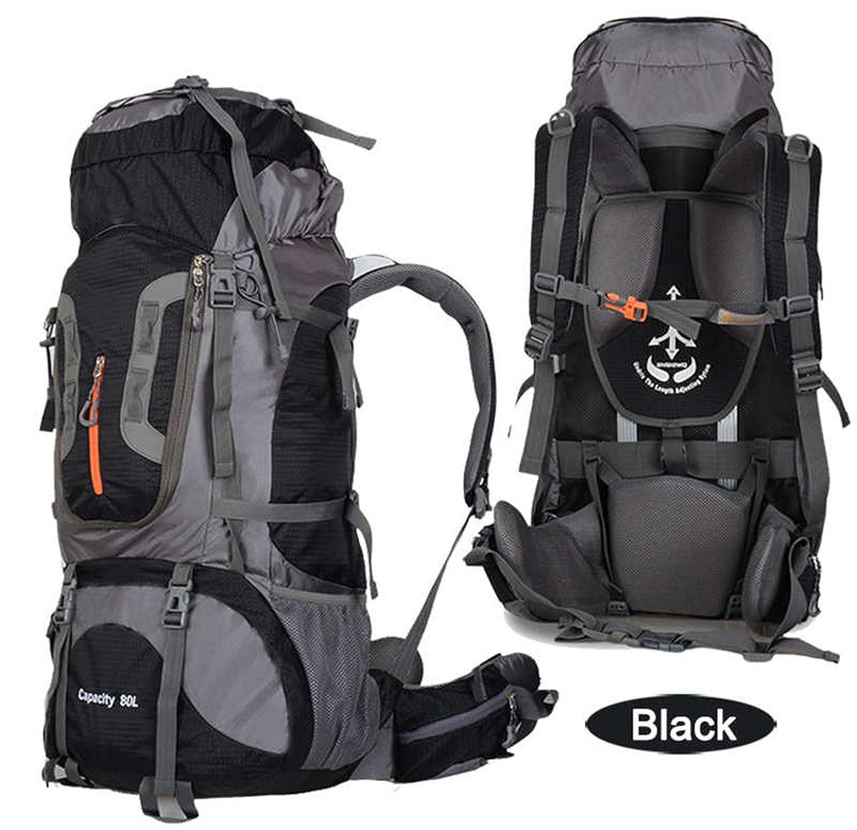 アウトドア 80L キャンプ バックパック ハイキング バッグ 登山バッグ 大容量 防水 タクティカル ミリタリー バックパック メンズ バッグ B07S6FY7X1 ブラック One Size