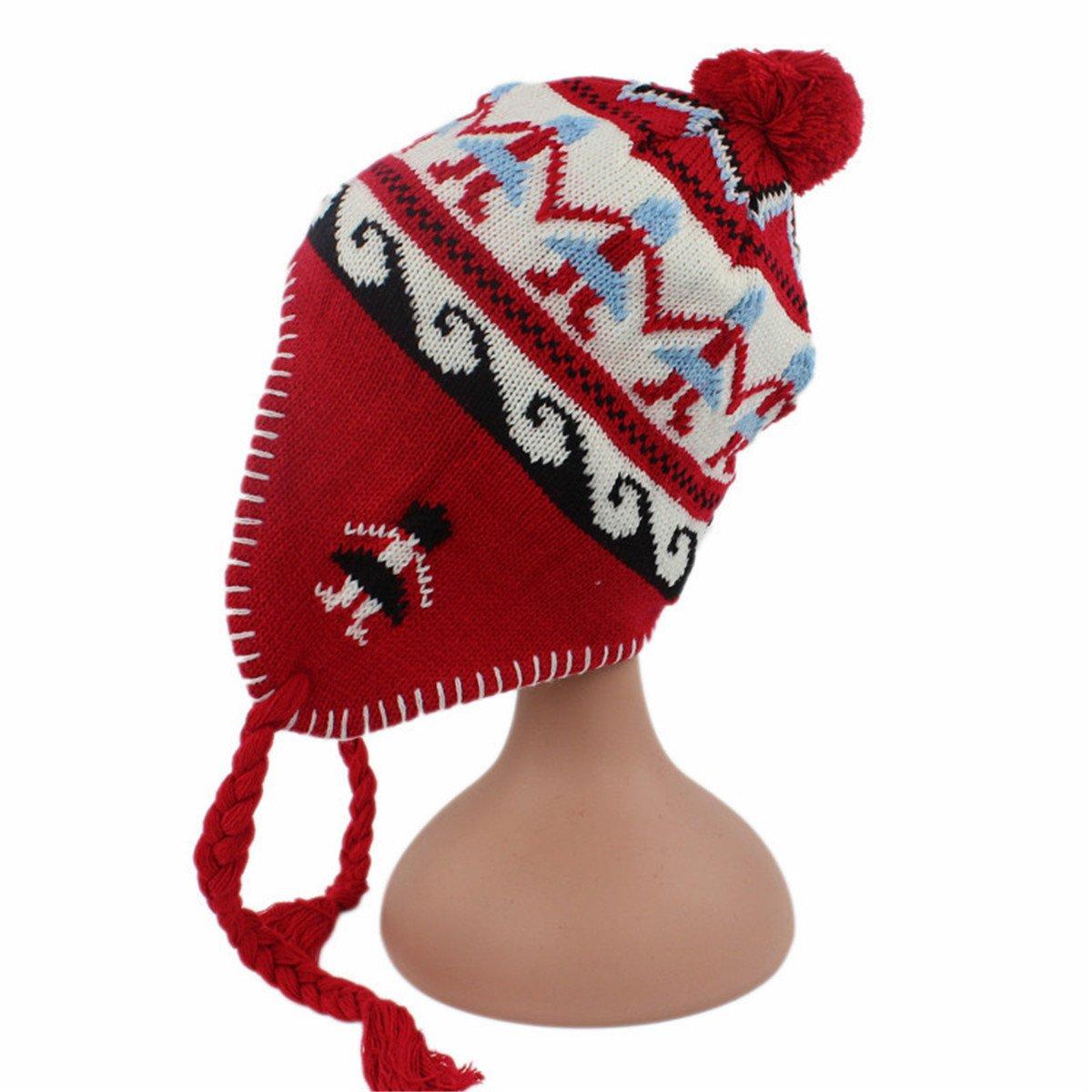 Qhome Kids Children Knit Hat Christmas Gift Warm Earmuffs Cap