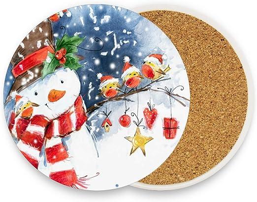 Amazon Com Merry Christmas Snowman Drink Coasters Mats Xmas