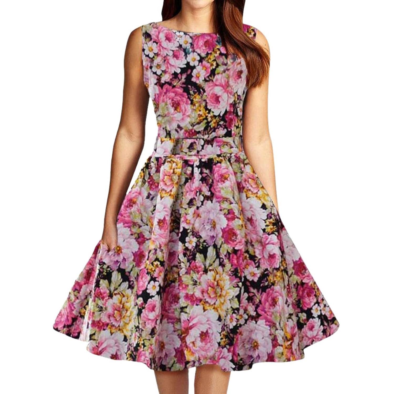 MNBS Elegant Damen Aermellose 1950er Retro Vintage Floral Party Cocktailkleider Abendkleider Sommerkleid Knielang