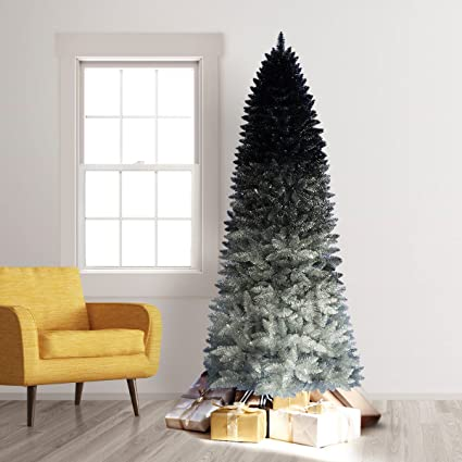 treetopia silver shadow ombre artificial christmas tree 6 feet unlit - Black And Silver Christmas Tree
