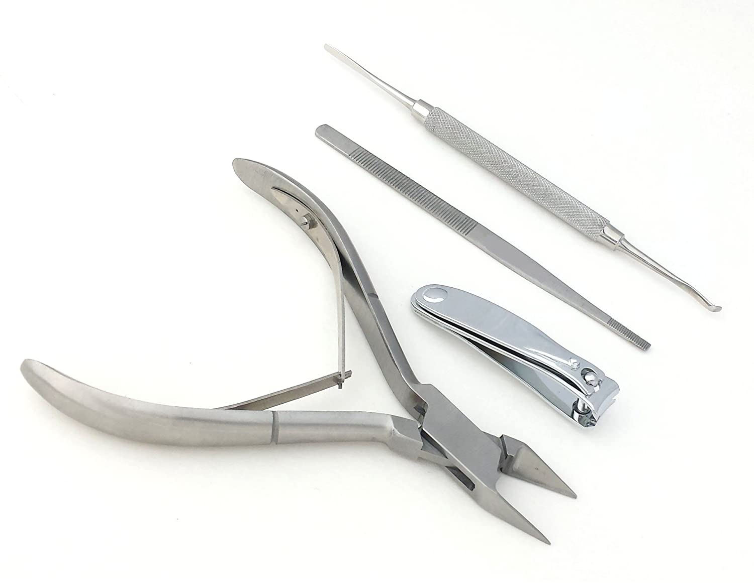 Ingrown Toe Nail Nipper, Lifter, Cutter and File Double Ended Sided 4pcs Set Haryali ingrnset4