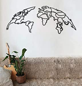 Tubibu Decorative%100 Metal World Map Wall Decor, Home Office Decoration, Bedroom Living Room Decor Sculpture (Globe)