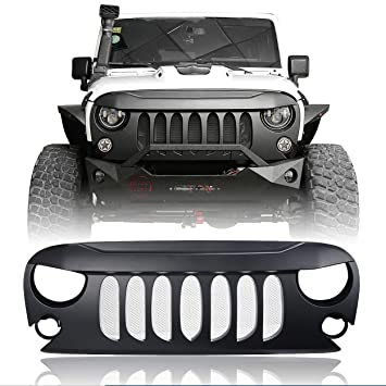 Amazon Com Hooke Road Jeep Wrangler Front Grill Matte Black Demon