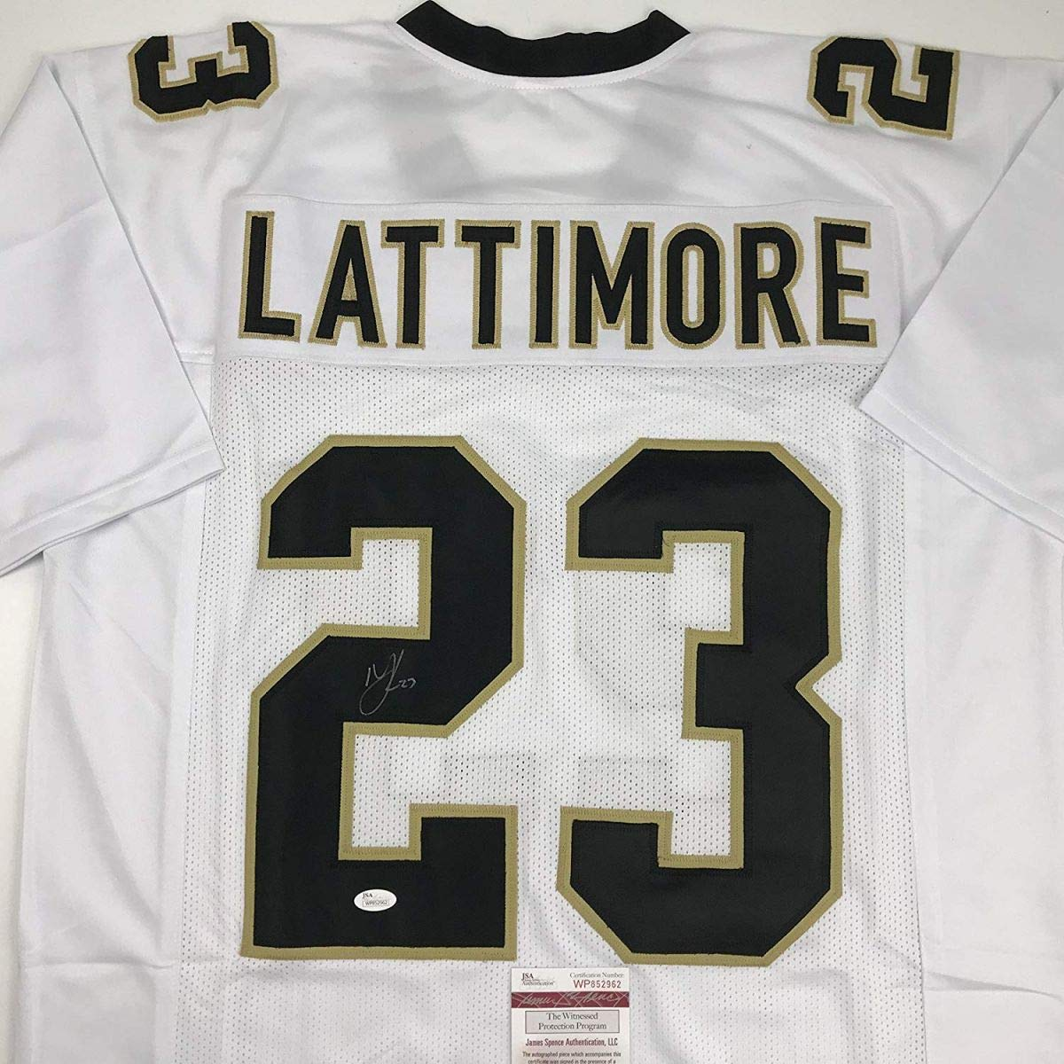 Autographed/Signed Marshon Lattimore New Orleans White Football Jersey JSA COA