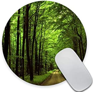 SSOIU Deep in The Forest Thick Green Vegetation Tree Nature Round Mouse Pad Mat 7.87X7.87 Inch (200mmX200mmX3mm)