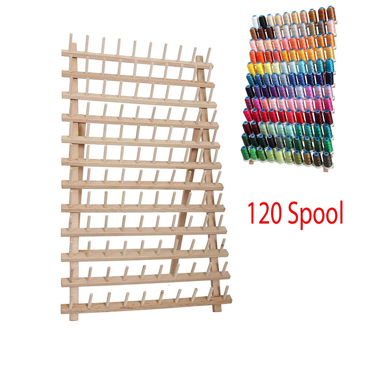 120 Spool Foldable Wood Thread Stand Rack Holds Organizer - Wall Mount Cone Embroidery Machine Sewing Storage Holder by PPH3 Shine