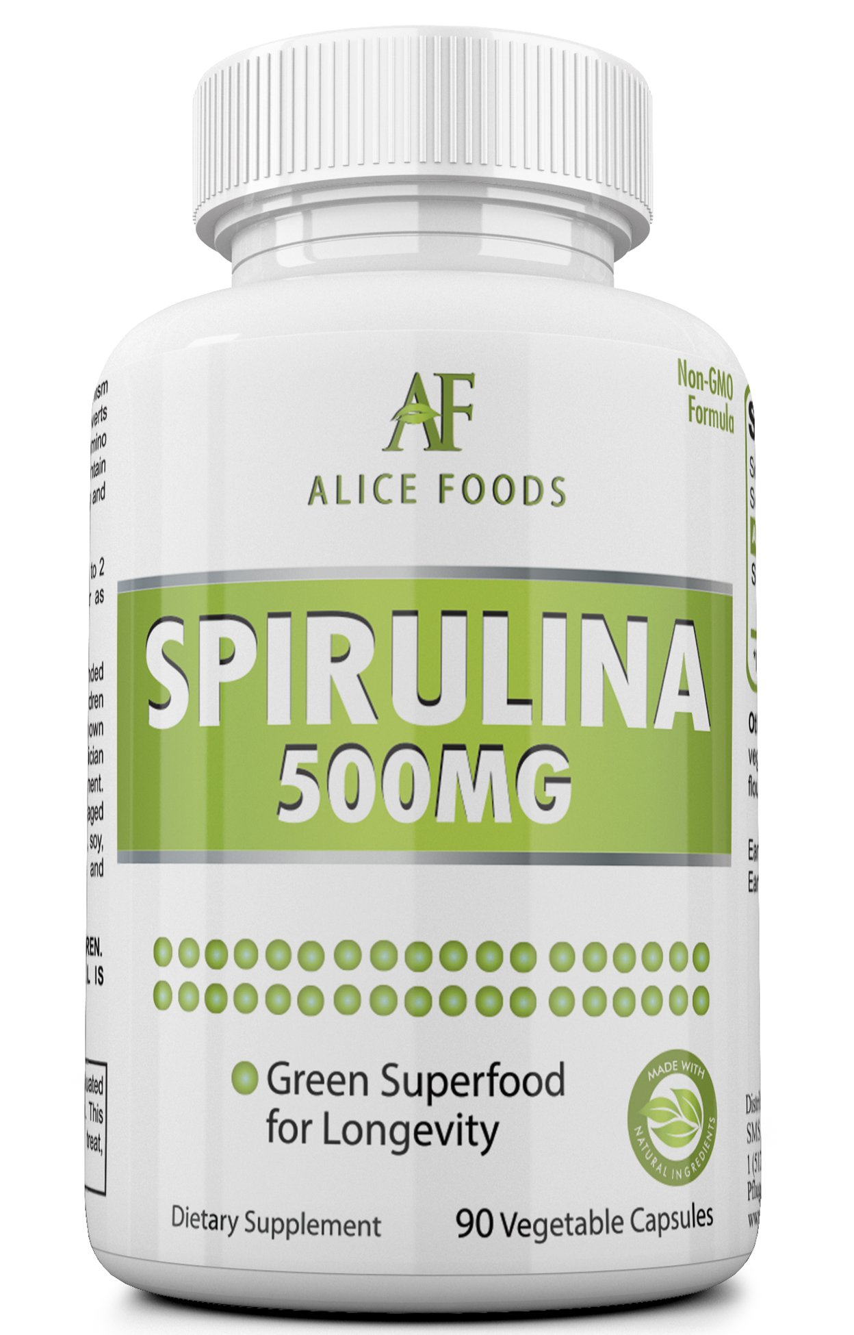 Alice Foods Spirulina Supplement – 500mg Maximum Strength Supplement – 90 Days Supply – 90 Veggie Capsules