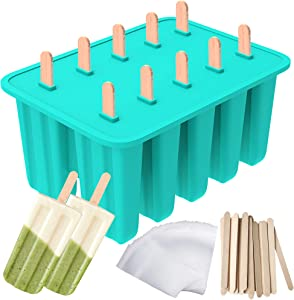 Ozera Popsicle Molds, 10-Cavity Popsicle Maker Food Grade Silicone Popsicle Molds for Kids, Homemade Popsicles, Ice Pop Molds with 50 Popsicle Sticks, 50 Popsicle Bag