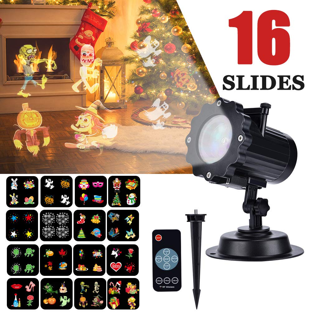 Christmas Light Projector, EECOO Mini Waterproof Projection Lamp for Xmas Birthday Wedding Party Festival Indoor Outdoor Decoration (16 Patterns) by eecoo